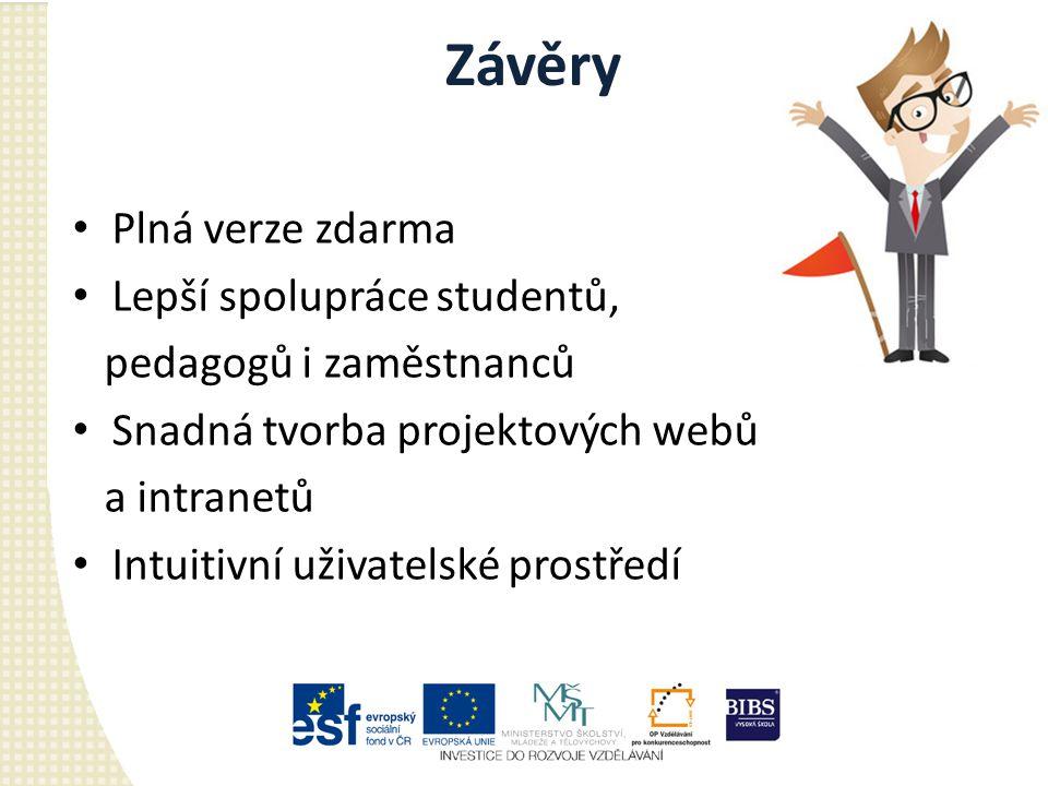 Závěry Plná verze zdarma Lepší spolupráce studentů, pedagogů i zaměstnanců Snadná tvorba projektových webů a intranetů Intuitivní uživatelské prostředí