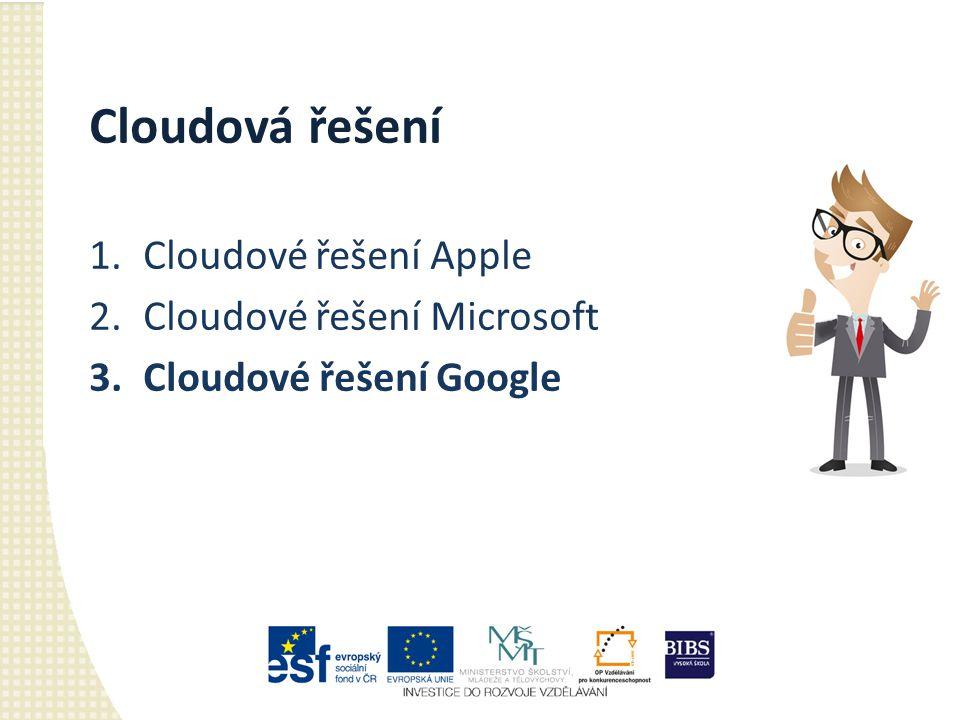 Cloudová řešení 1.Cloudové řešení Apple 2.Cloudové řešení Microsoft 3.Cloudové řešení Google