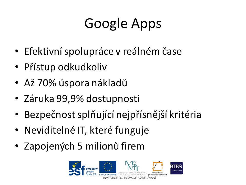 Google Apps Efektivní spolupráce v reálném čase Přístup odkudkoliv Až 70% úspora nákladů Záruka 99,9% dostupnosti Bezpečnost splňující nejpřísnější kr