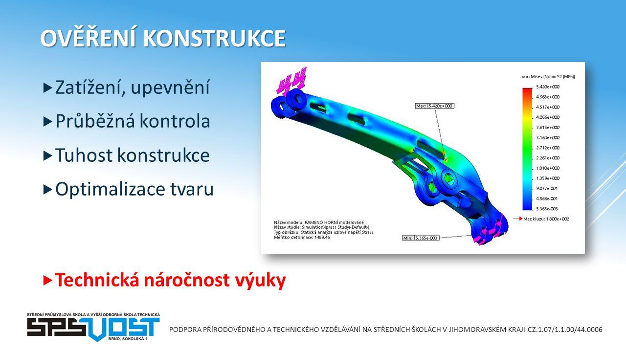 PODPORA PŘÍRODOVĚDNÉHO A TECHNICKÉHO VZDĚLÁVÁNÍ NA STŘEDNÍCH ŠKOLÁCH V JIHOMORAVSKÉM KRAJI CZ.1.07/1.1.00/44.0006 OVĚŘENÍ KONSTRUKCE  Zatížení, upevnění  Průběžná kontrola  Tuhost konstrukce  Optimalizace tvaru  Technická náročnost výuky