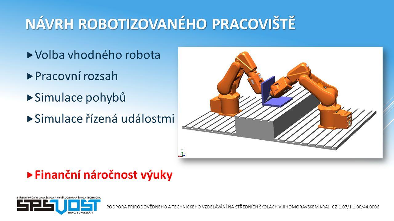 PODPORA PŘÍRODOVĚDNÉHO A TECHNICKÉHO VZDĚLÁVÁNÍ NA STŘEDNÍCH ŠKOLÁCH V JIHOMORAVSKÉM KRAJI CZ.1.07/1.1.00/44.0006 NÁVRH ROBOTIZOVANÉHO PRACOVIŠTĚ  Volba vhodného robota  Pracovní rozsah  Simulace pohybů  Simulace řízená událostmi  Finanční náročnost výuky