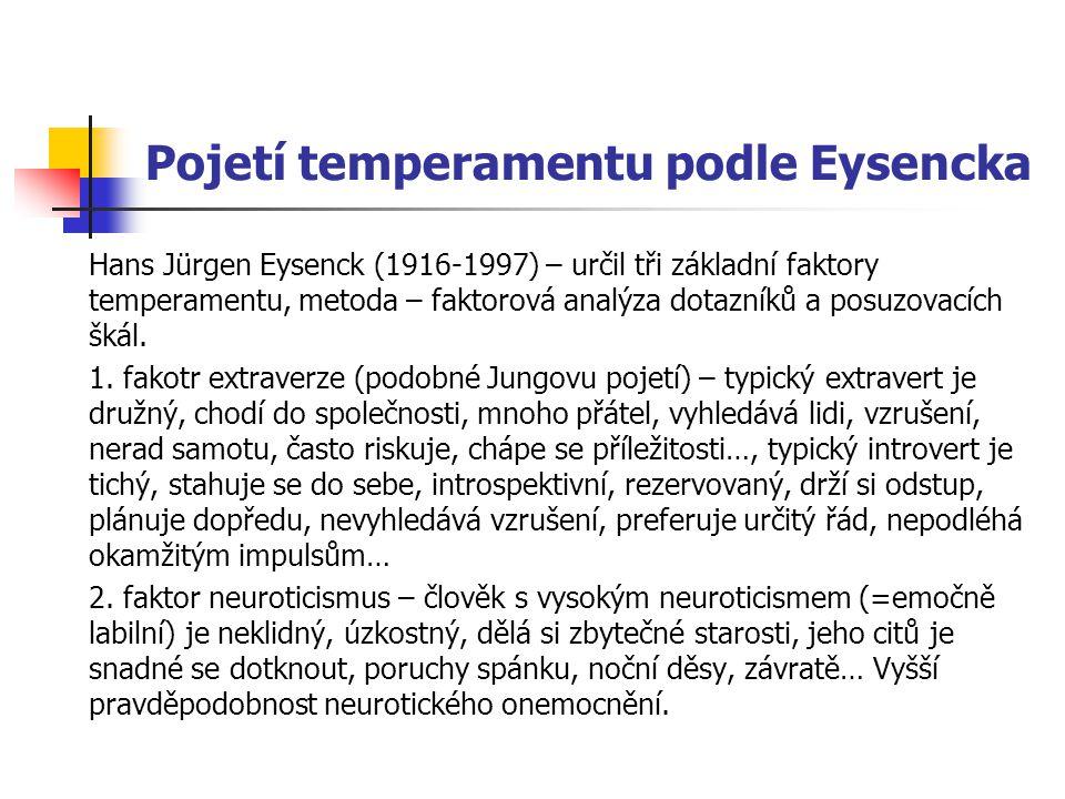 Pojetí temperamentu podle Eysencka Hans Jürgen Eysenck (1916-1997) – určil tři základní faktory temperamentu, metoda – faktorová analýza dotazníků a posuzovacích škál.