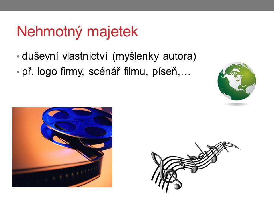 Nehmotný majetek duševní vlastnictví (myšlenky autora) př. logo firmy, scénář filmu, píseň,…
