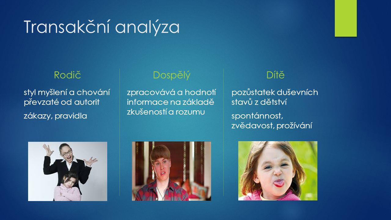 Transakční analýza Rodič styl myšlení a chování převzaté od autorit zákazy, pravidla Dospělý zpracovává a hodnotí informace na základě zkušeností a ro