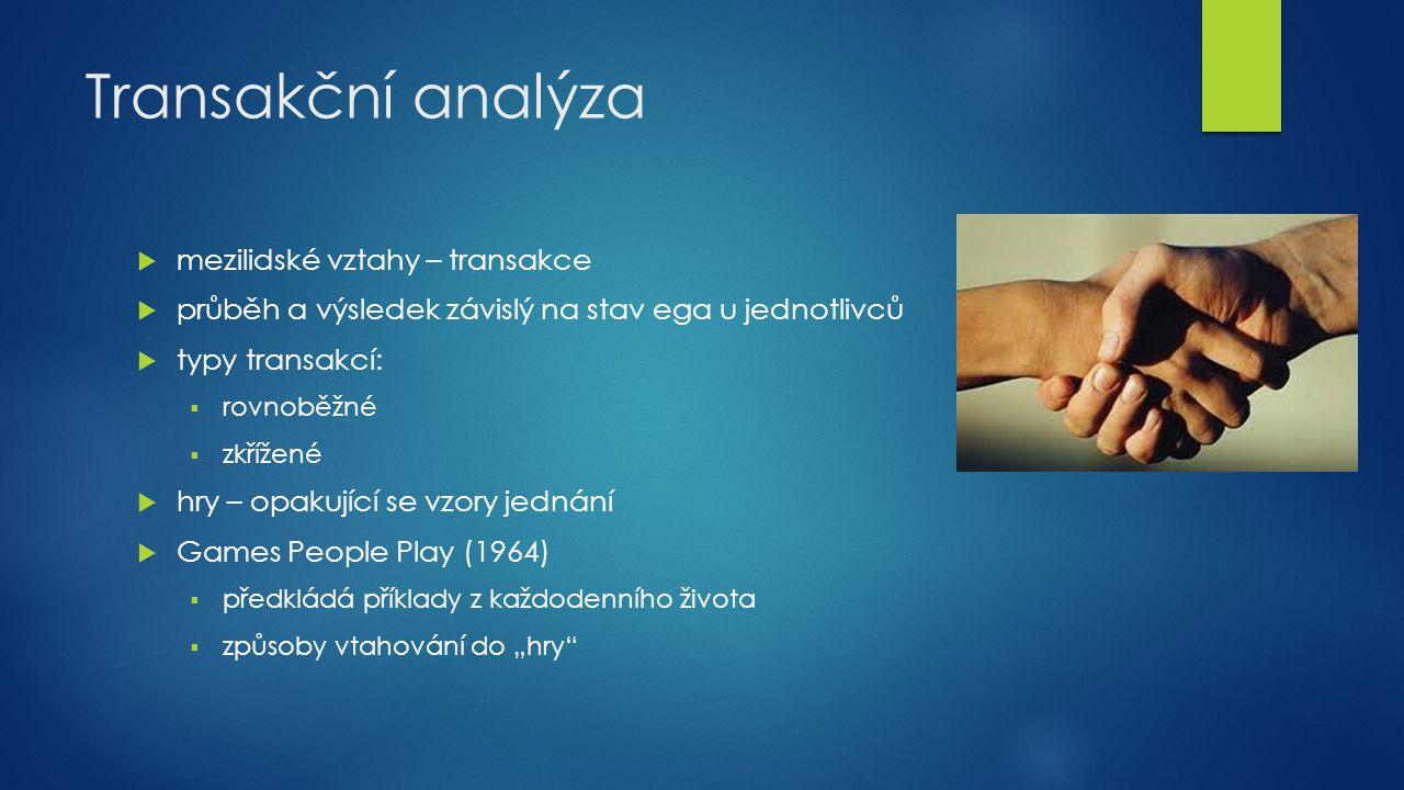 """Transakční analýza  Motivace – metafora """"tří hladů 1."""