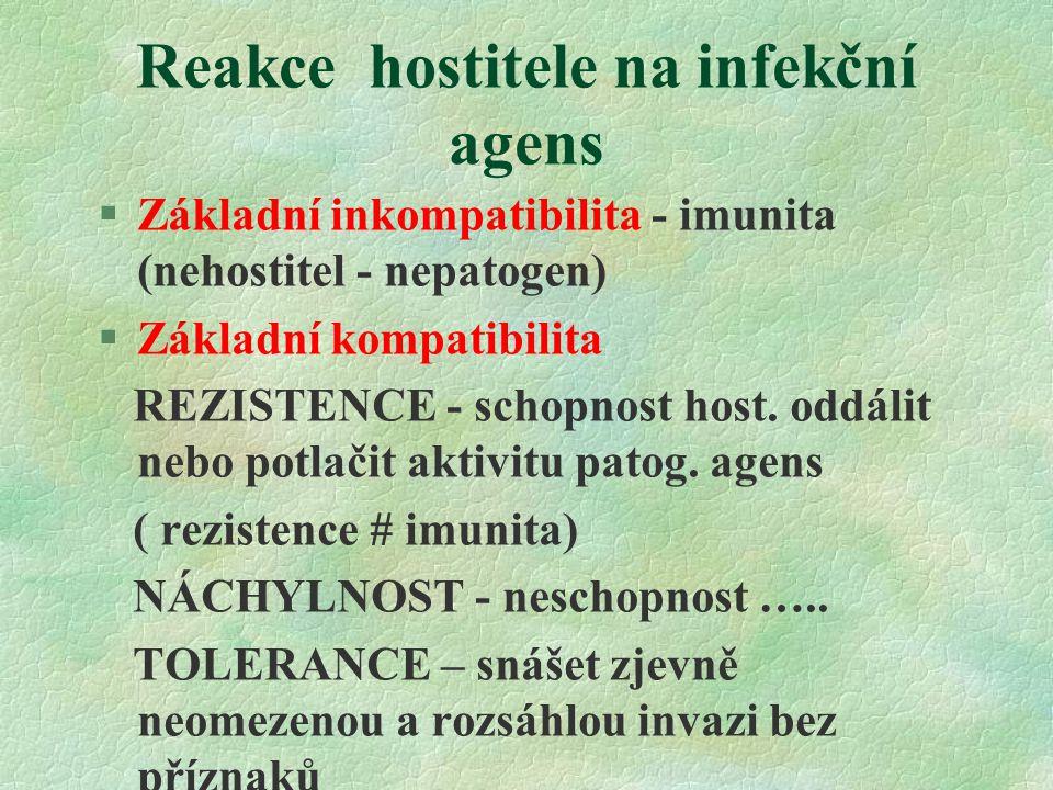 Reakce hostitele na infekční agens §Základní inkompatibilita - imunita (nehostitel - nepatogen) §Základní kompatibilita REZISTENCE - schopnost host.