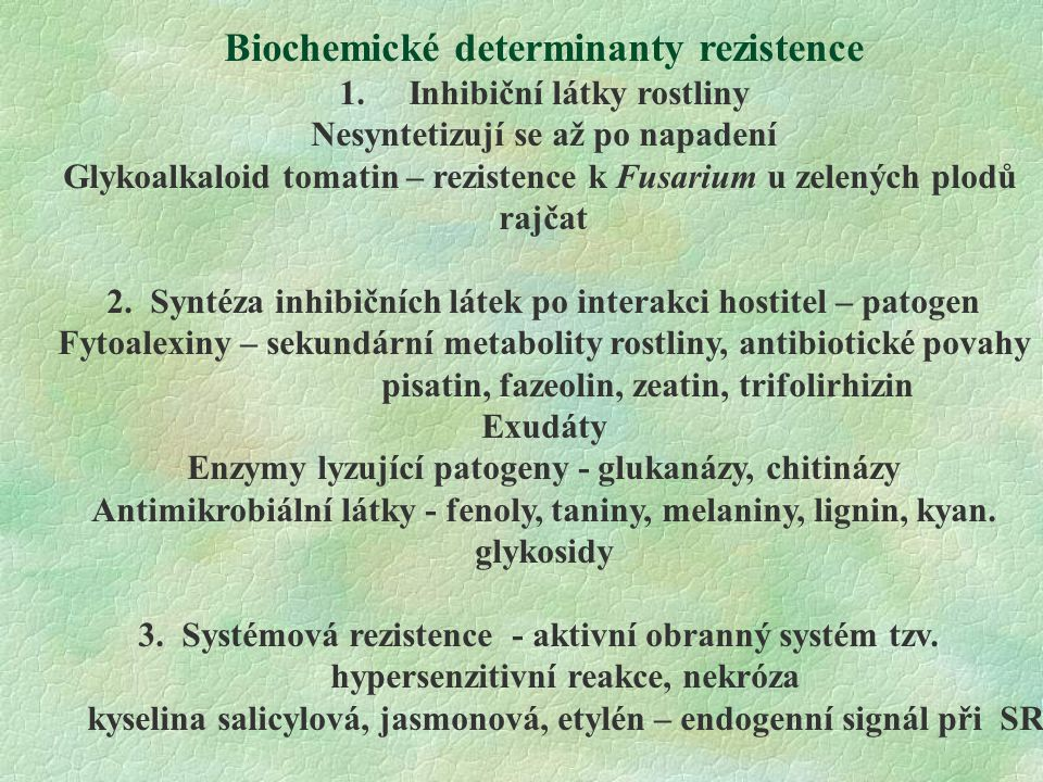 Biochemické determinanty rezistence 1.