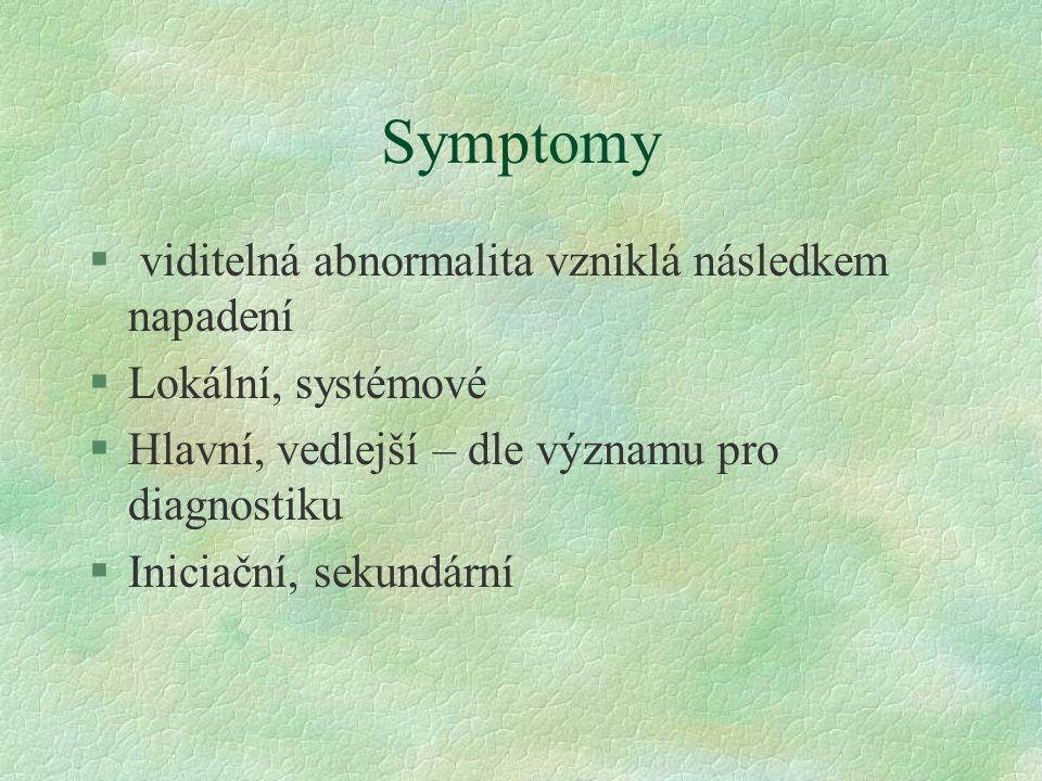 Symptomy § viditelná abnormalita vzniklá následkem napadení §Lokální, systémové §Hlavní, vedlejší – dle významu pro diagnostiku §Iniciační, sekundární