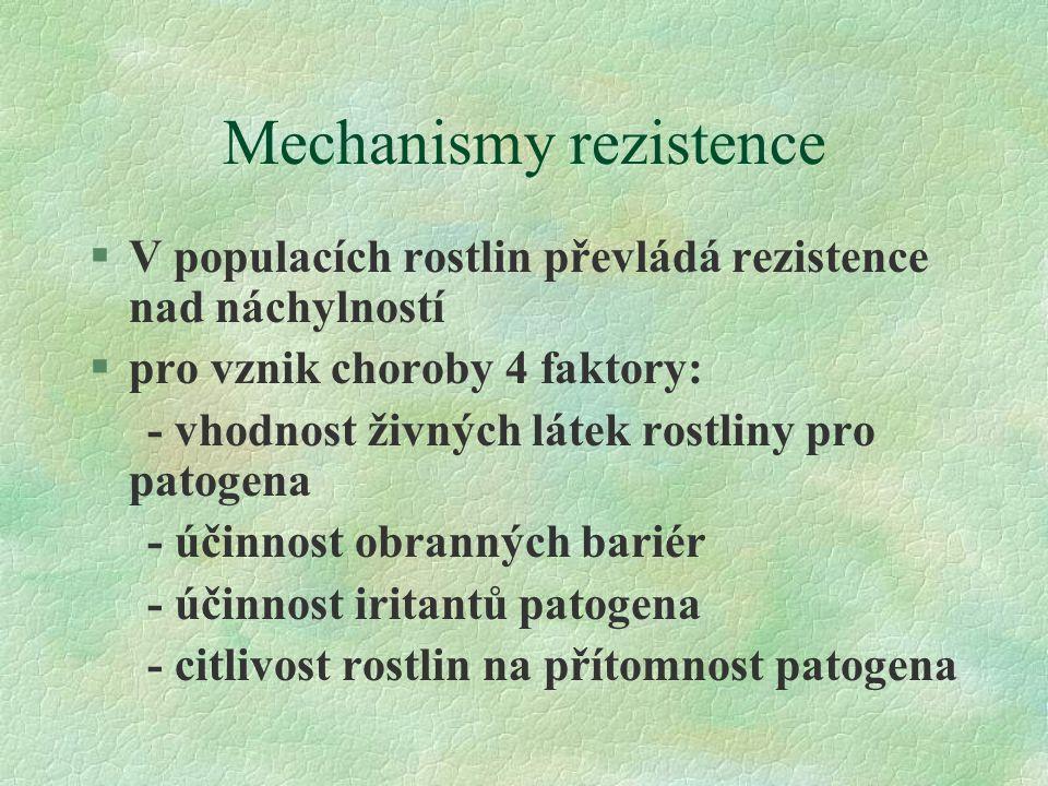 Mechanismy rezistence §V populacích rostlin převládá rezistence nad náchylností §pro vznik choroby 4 faktory: - vhodnost živných látek rostliny pro patogena - účinnost obranných bariér - účinnost iritantů patogena - citlivost rostlin na přítomnost patogena
