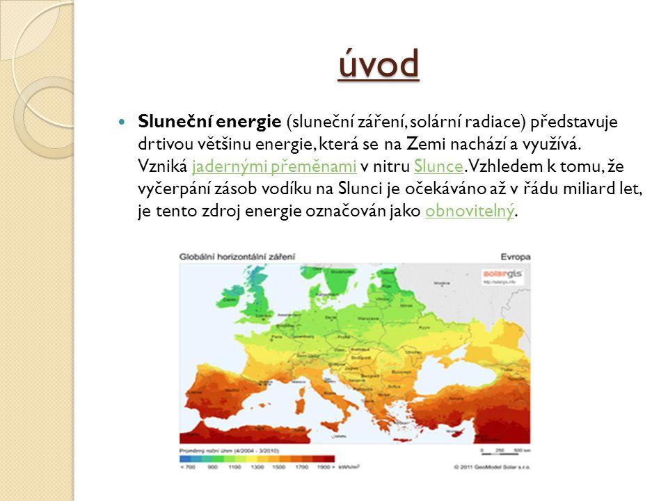 úvod Sluneční energie (sluneční záření, solární radiace) představuje drtivou většinu energie, která se na Zemi nachází a využívá.