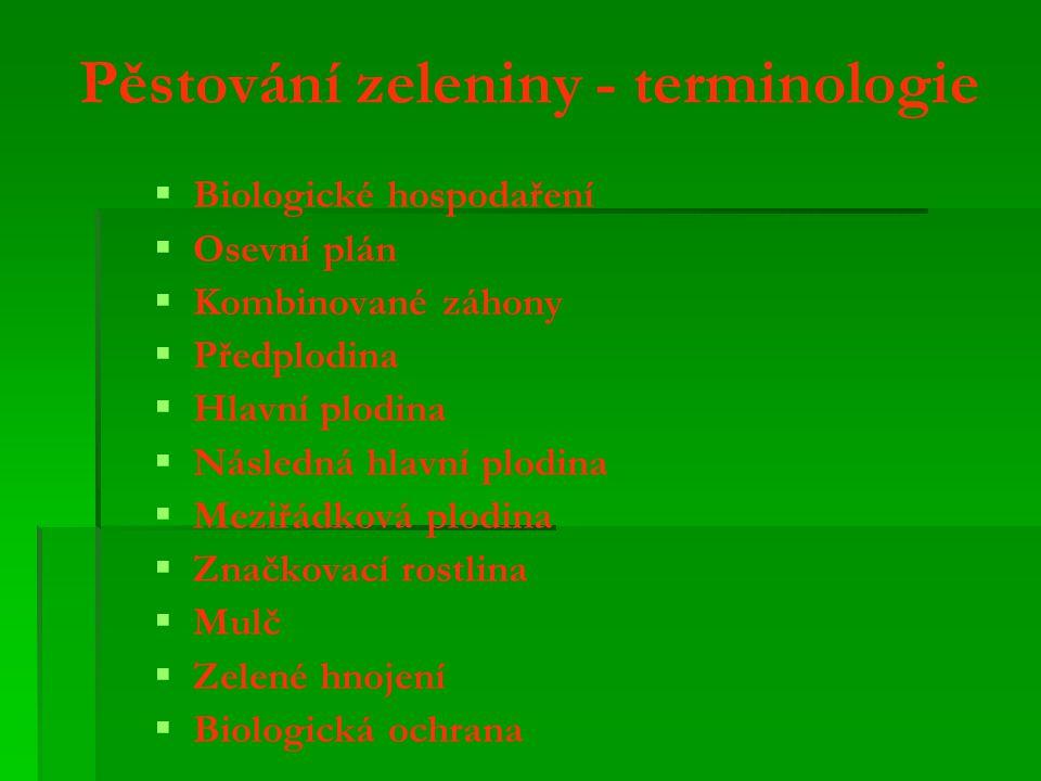Pěstování zeleniny - terminologie   Biologické hospodaření   Osevní plán   Kombinované záhony   Předplodina   Hlavní plodina   Následná hlavní plodina   Meziřádková plodina   Značkovací rostlina   Mulč   Zelené hnojení   Biologická ochrana