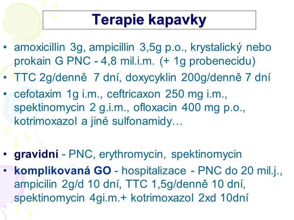 Terapie kapavky amoxicillin 3g, ampicillin 3,5g p.o., krystalický nebo prokain G PNC - 4,8 mil.i.m. (+ 1g probenecidu) TTC 2g/denně 7 dní, doxycyklin