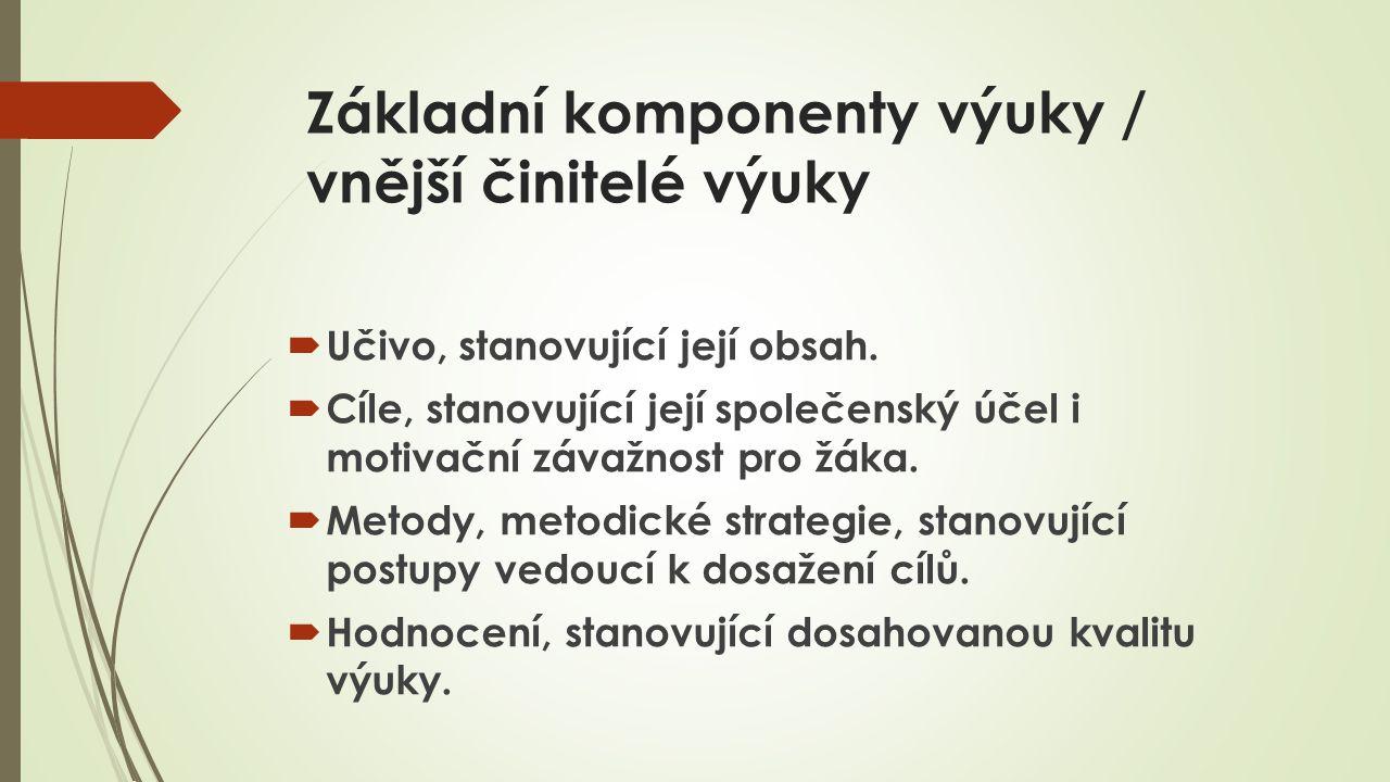 Základní komponenty výuky / vnější činitelé výuky  Učivo, stanovující její obsah.  Cíle, stanovující její společenský účel i motivační závažnost pro