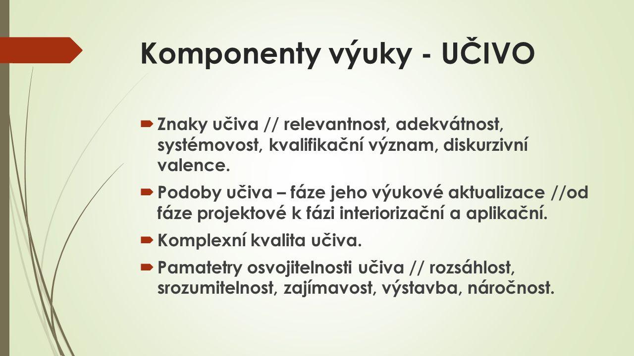 Komponenty výuky - UČIVO  Znaky učiva // relevantnost, adekvátnost, systémovost, kvalifikační význam, diskurzivní valence.  Podoby učiva – fáze jeho