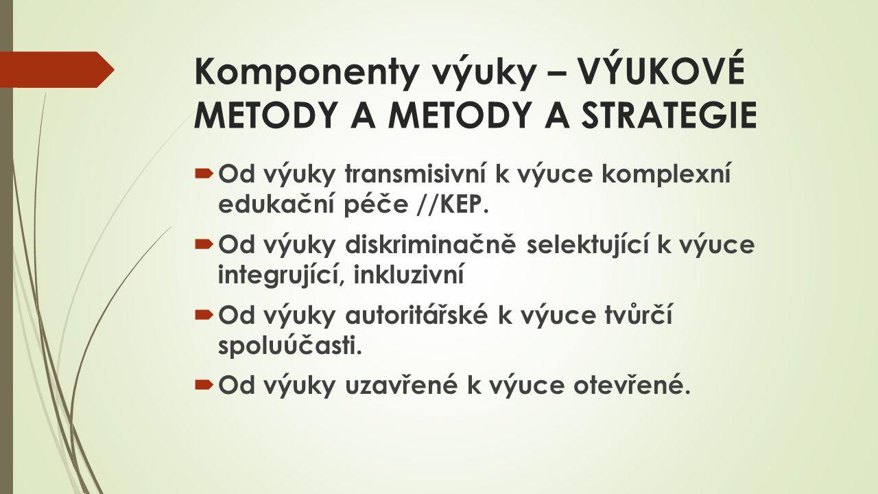 Komponenty výuky – VÝUKOVÉ METODY A METODY A STRATEGIE  Od výuky transmisivní k výuce komplexní edukační péče //KEP.  Od výuky diskriminačně selektu