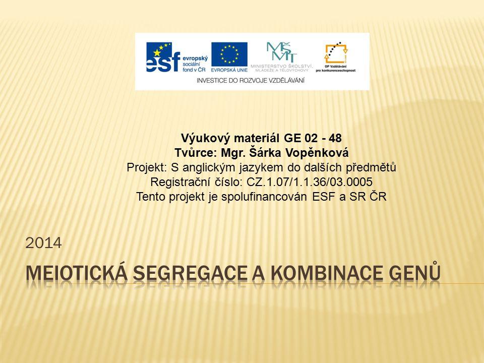 2014 Výukový materiál GE 02 - 48 Tvůrce: Mgr. Šárka Vopěnková Projekt: S anglickým jazykem do dalších předmětů Registrační číslo: CZ.1.07/1.1.36/03.00