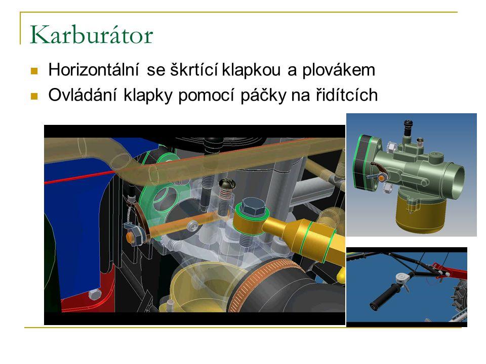Karburátor Horizontální se škrtící klapkou a plovákem Ovládání klapky pomocí páčky na řidítcích