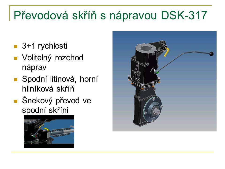 Převodová skříň s nápravou DSK-317 3+1 rychlosti Volitelný rozchod náprav Spodní litinová, horní hliníková skříň Šnekový převod ve spodní skříni