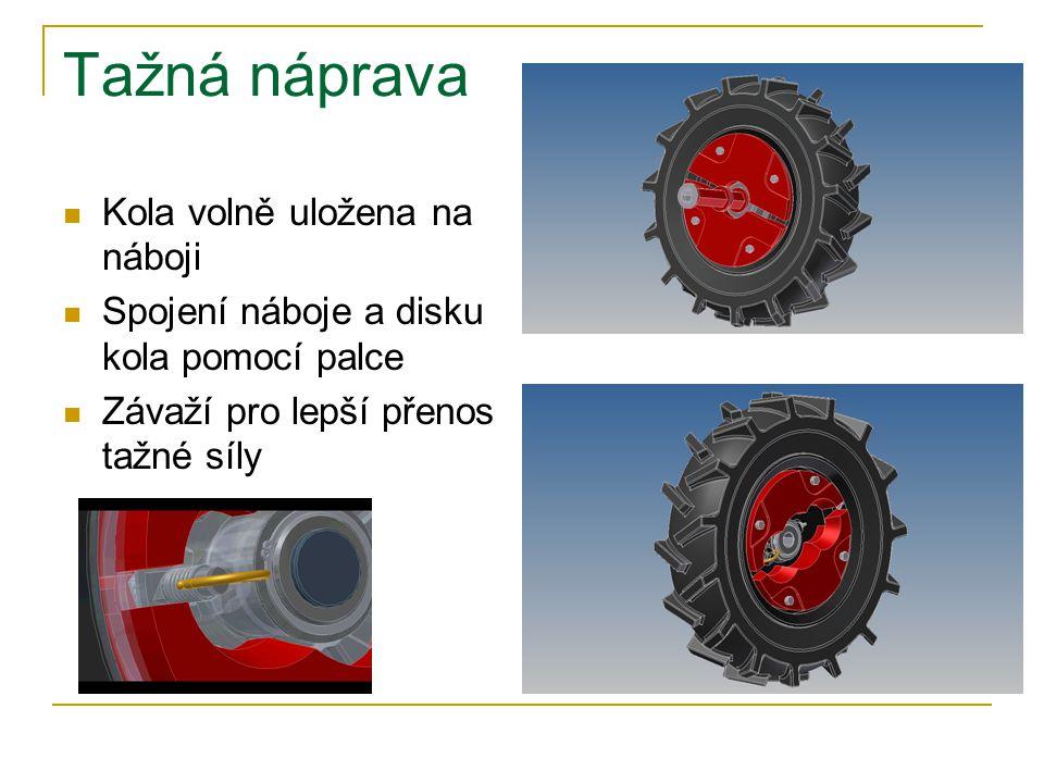 Tažná náprava Kola volně uložena na náboji Spojení náboje a disku kola pomocí palce Závaží pro lepší přenos tažné síly