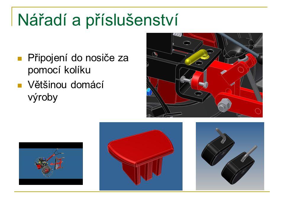 Nářadí a příslušenství Připojení do nosiče za pomocí kolíku Většinou domácí výroby