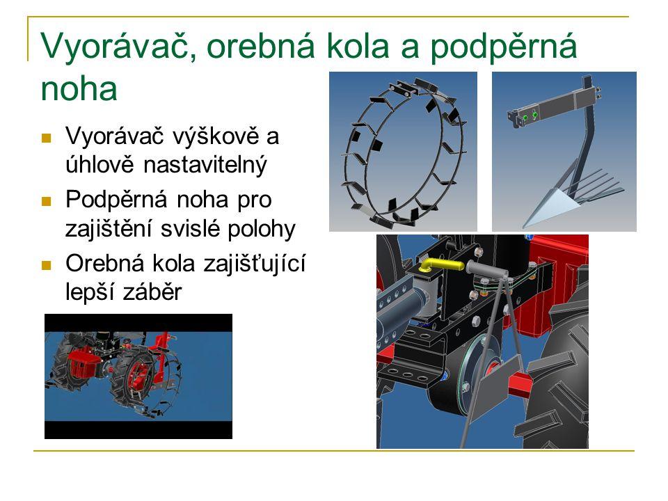 Vyorávač, orebná kola a podpěrná noha Vyorávač výškově a úhlově nastavitelný Podpěrná noha pro zajištění svislé polohy Orebná kola zajišťující lepší záběr