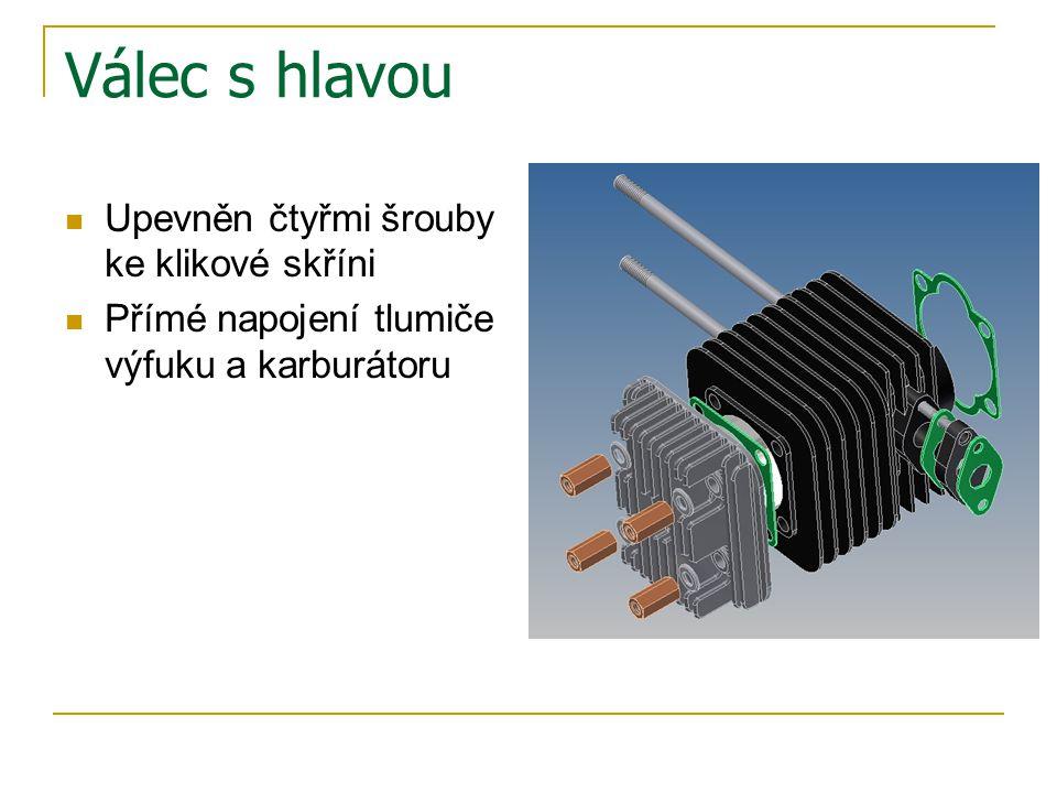 Čistič vzduchu a tlumič výfuku Čistič spojen přímo s karburátorem Čistič má tři hlavní části Vzduch násáván otvorem v horním díle Tlumič složen ze dvou částí spojených drápkováním Chráněn krycí mřížkou