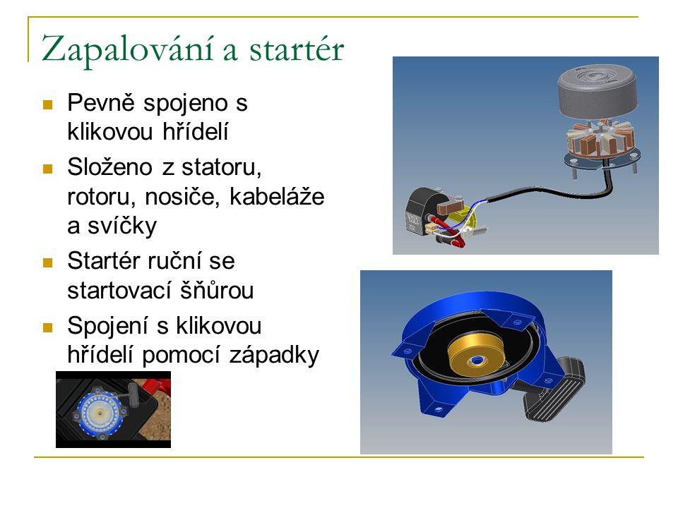 Zapalování a startér Pevně spojeno s klikovou hřídelí Složeno z statoru, rotoru, nosiče, kabeláže a svíčky Startér ruční se startovací šňůrou Spojení s klikovou hřídelí pomocí západky
