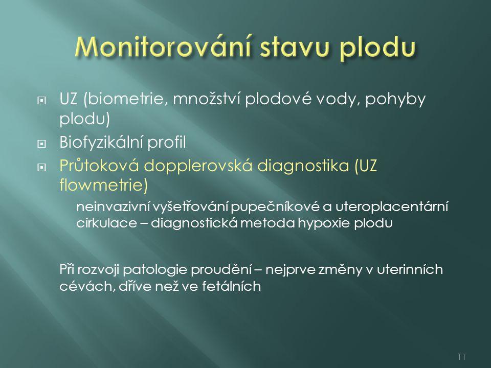  UZ (biometrie, množství plodové vody, pohyby plodu)  Biofyzikální profil  Průtoková dopplerovská diagnostika (UZ flowmetrie) neinvazivní vyšetřová