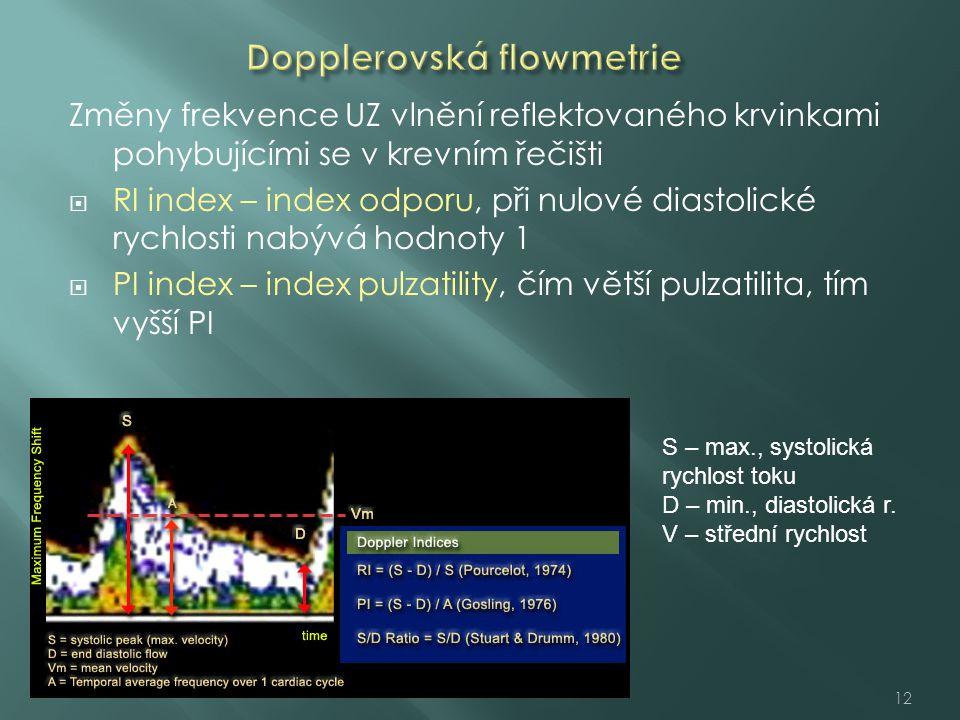 Změny frekvence UZ vlnění reflektovaného krvinkami pohybujícími se v krevním řečišti  RI index – index odporu, při nulové diastolické rychlosti nabývá hodnoty 1  PI index – index pulzatility, čím větší pulzatilita, tím vyšší PI 12 S – max., systolická rychlost toku D – min., diastolická r.
