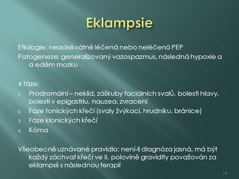 Etiologie: neadekvátně léčená nebo neléčená PEP Patogeneze: generalizovaný vazospazmus, následná hypoxie a a edém mozku 4 fáze: 1.