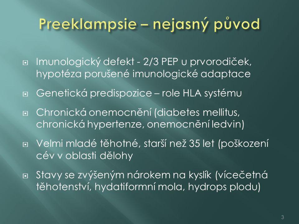  Imunologický defekt - 2/3 PEP u prvorodiček, hypotéza porušené imunologické adaptace  Genetická predispozice – role HLA systému  Chronická onemocnění (diabetes mellitus, chronická hypertenze, onemocnění ledvin)  Velmi mladé těhotné, starší než 35 let (poškození cév v oblasti dělohy  Stavy se zvýšeným nárokem na kyslík (vícečetná těhotenství, hydatiformní mola, hydrops plodu) 3