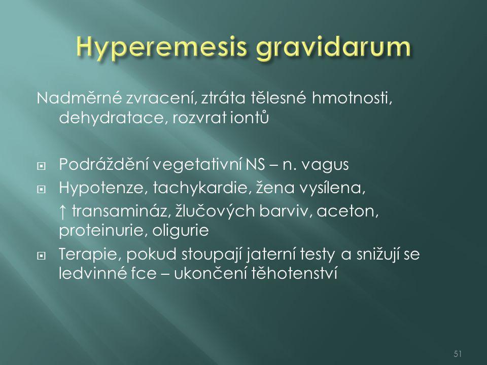 Nadměrné zvracení, ztráta tělesné hmotnosti, dehydratace, rozvrat iontů  Podráždění vegetativní NS – n. vagus  Hypotenze, tachykardie, žena vysílena