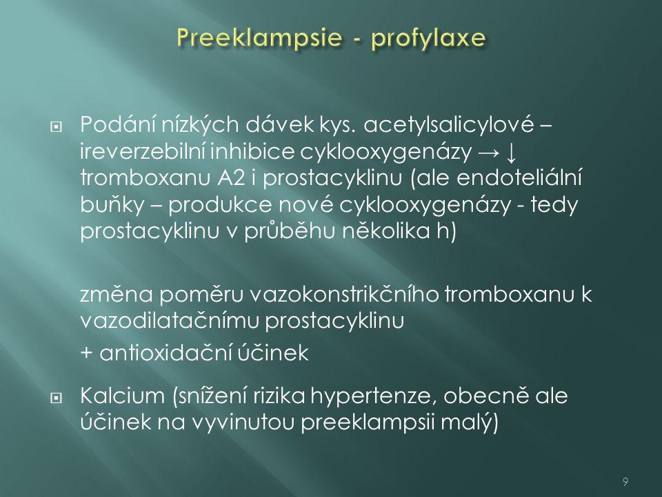  Podání nízkých dávek kys. acetylsalicylové – ireverzebilní inhibice cyklooxygenázy → ↓ tromboxanu A2 i prostacyklinu (ale endoteliální buňky – produ