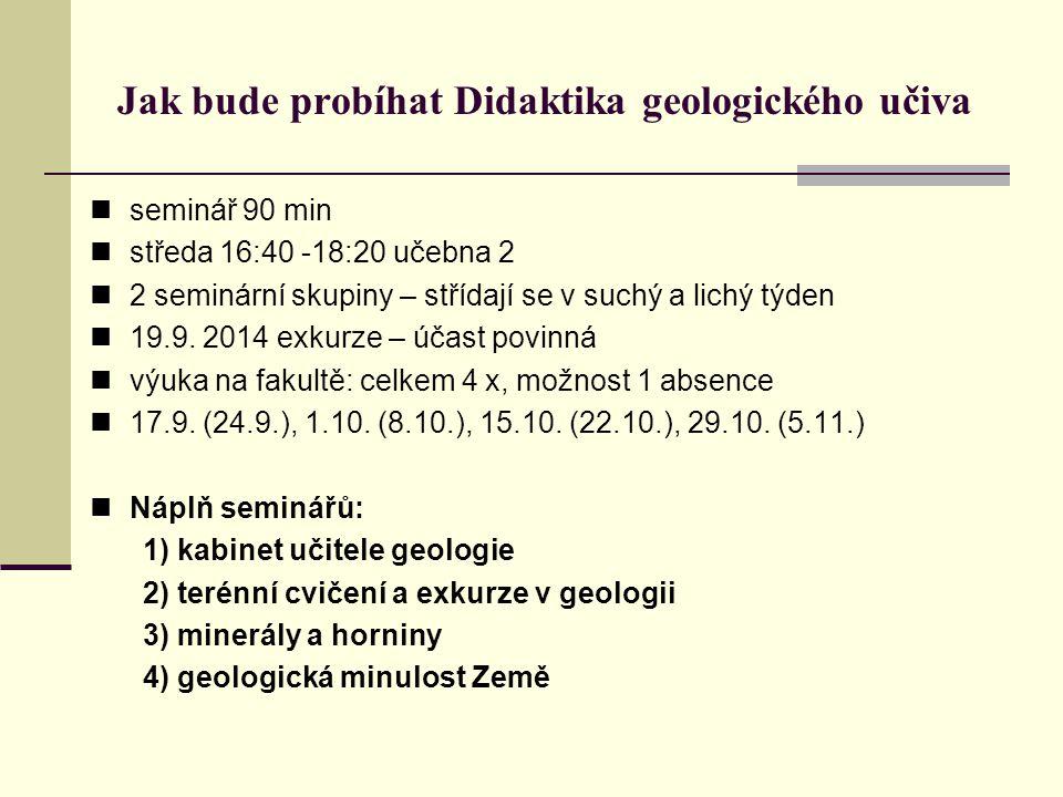 Jak bude probíhat Didaktika geologického učiva seminář 90 min středa 16:40 -18:20 učebna 2 2 seminární skupiny – střídají se v suchý a lichý týden 19.