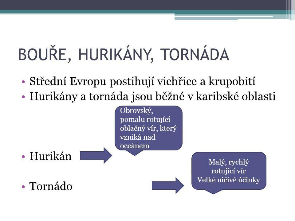 BOUŘE, HURIKÁNY, TORNÁDA Střední Evropu postihují vichřice a krupobití Hurikány a tornáda jsou běžné v karibské oblasti Hurikán Tornádo Obrovský, poma