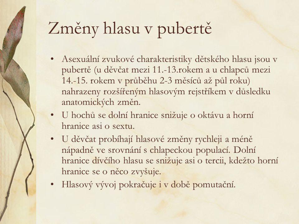 Změny hlasu v pubertě Asexuální zvukové charakteristiky dětského hlasu jsou v pubertě (u děvčat mezi 11.-13.rokem a u chlapců mezi 14.-15.