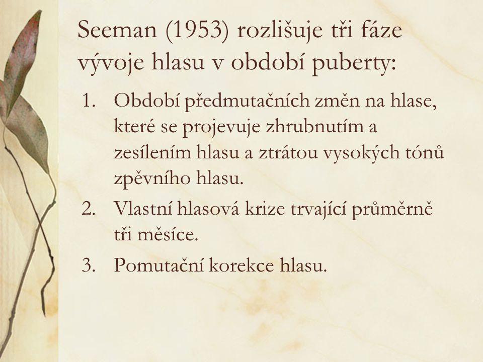 Seeman (1953) rozlišuje tři fáze vývoje hlasu v období puberty: 1.Období předmutačních změn na hlase, které se projevuje zhrubnutím a zesílením hlasu a ztrátou vysokých tónů zpěvního hlasu.