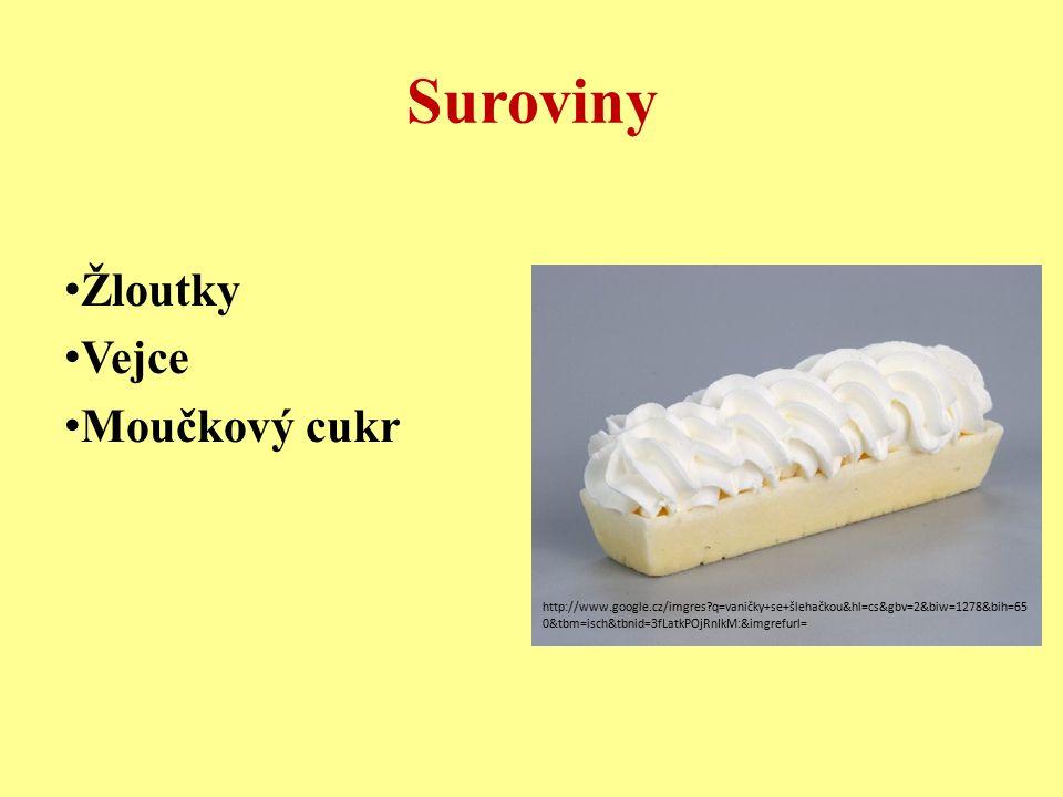 Suroviny Žloutky Vejce Moučkový cukr http://www.google.cz/imgres?q=vaničky+se+šlehačkou&hl=cs&gbv=2&biw=1278&bih=65 0&tbm=isch&tbnid=3fLatkPOjRnIkM:&i