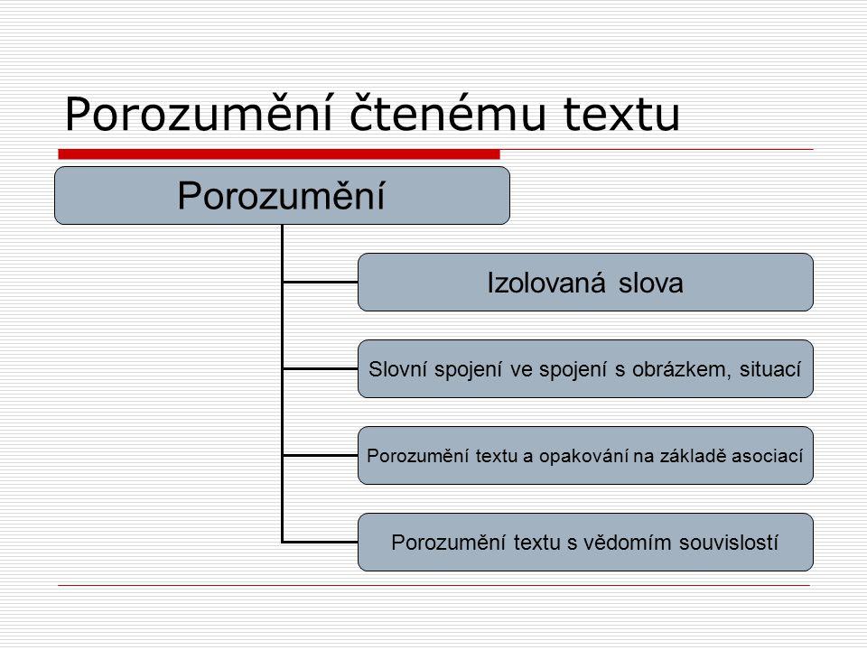 Porozumění čtenému textu Porozumění Izolovaná slova Slovní spojení ve spojení s obrázkem, situací Porozumění textu a opakování na základě asociací Por