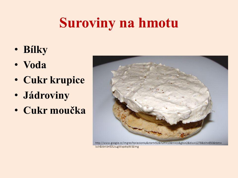 Suroviny na hmotu Bílky Voda Cukr krupice Jádroviny Cukr moučka http://www.google.cz/imgres?q=laskonky&start=52&num=10&hl=cs&gbv=2&biw=1278&bih=650&tbm= isch&tbnid=50UsugWxpdtqlM:&img