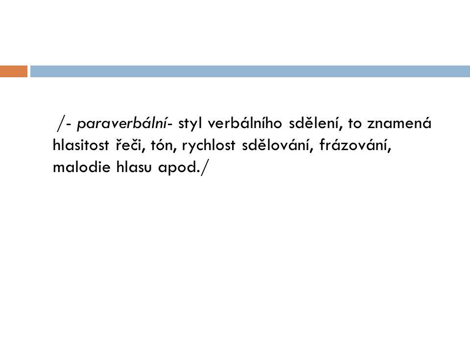 /- paraverbální- styl verbálního sdělení, to znamená hlasitost řeči, tón, rychlost sdělování, frázování, malodie hlasu apod./