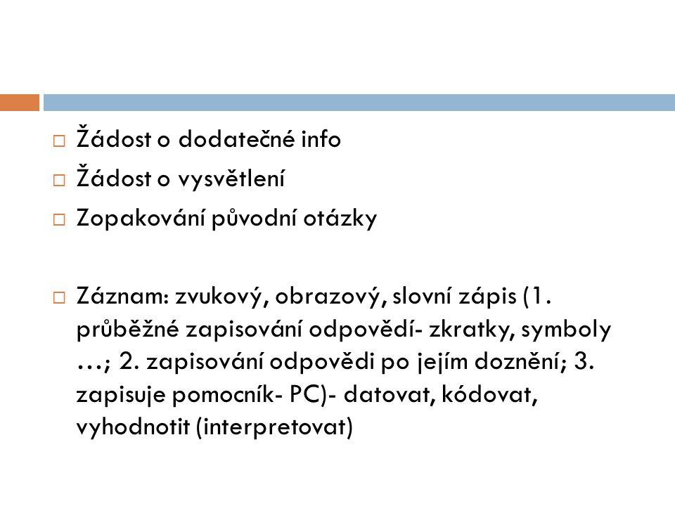  Žádost o dodatečné info  Žádost o vysvětlení  Zopakování původní otázky  Záznam: zvukový, obrazový, slovní zápis (1. průběžné zapisování odpovědí
