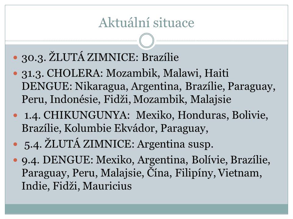 Aktuální situace 30.3. ŽLUTÁ ZIMNICE: Brazílie 31.3. CHOLERA: Mozambik, Malawi, Haiti DENGUE: Nikaragua, Argentina, Brazílie, Paraguay, Peru, Indonési