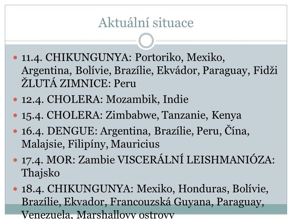 Aktuální situace 11.4. CHIKUNGUNYA: Portoriko, Mexiko, Argentina, Bolívie, Brazílie, Ekvádor, Paraguay, Fidži ŽLUTÁ ZIMNICE: Peru 12.4. CHOLERA: Mozam