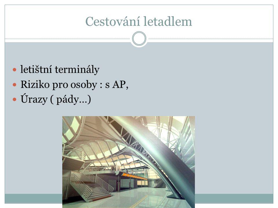 Cestování letadlem letištní terminály Riziko pro osoby : s AP, Úrazy ( pády…)
