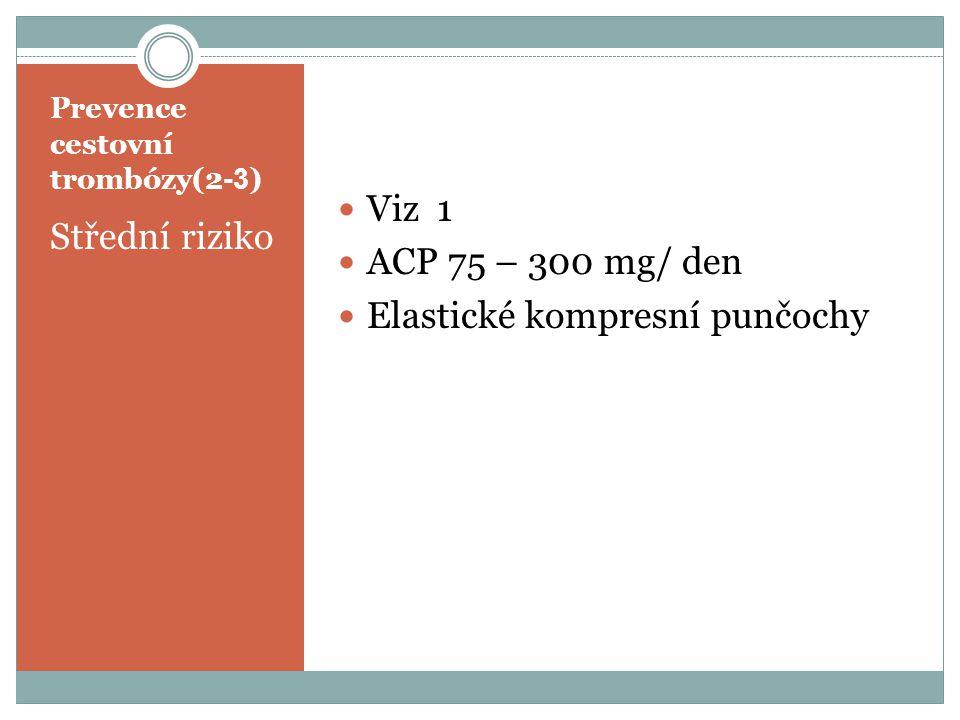 Prevence cestovní trombózy(2 -3 ) Střední riziko Viz 1 ACP 75 – 300 mg/ den Elastické kompresní punčochy