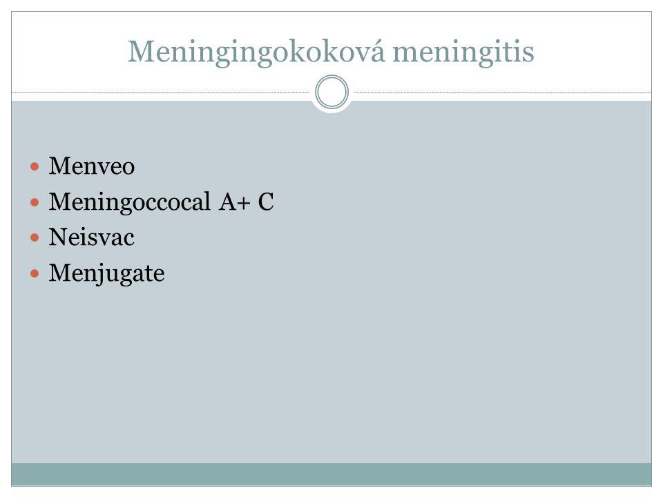 Meningingokoková meningitis Menveo Meningoccocal A+ C Neisvac Menjugate