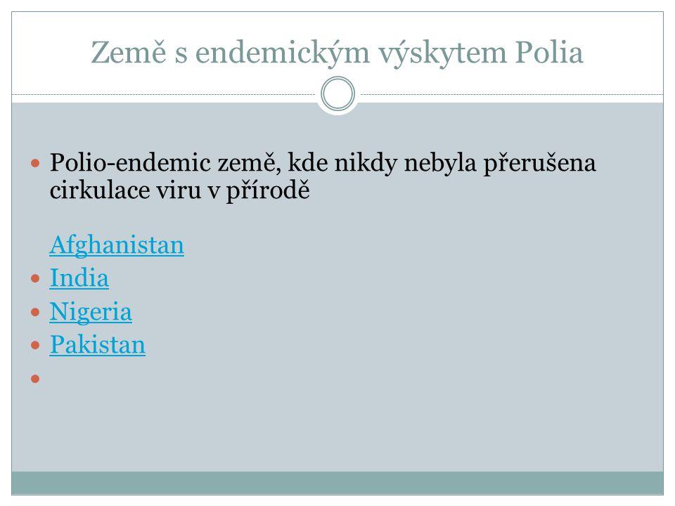 Země s endemickým výskytem Polia Polio-endemic země, kde nikdy nebyla přerušena cirkulace viru v přírodě Afghanistan Afghanistan India Nigeria Pakista