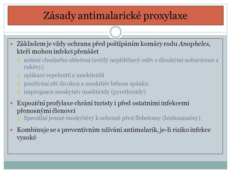 Zásady antimalarické proxylaxe Základem je vždy ochrana před poštípáním komáry rodu Anopheles, kteří mohou infekci přenášet  nošení vhodného oblečení