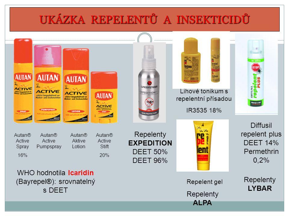 UKÁZKA REPELENTŮ A INSEKTICIDŮ Diffusil repelent plus DEET 14% Permethrin 0,2% Autan® Aktive Lotion Autan® Active Spray 16% Autan® Active Pumpspray Au